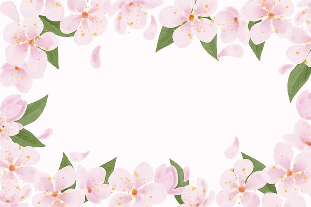 Espacio de copia de fondo de flor de ciruelo acuarela