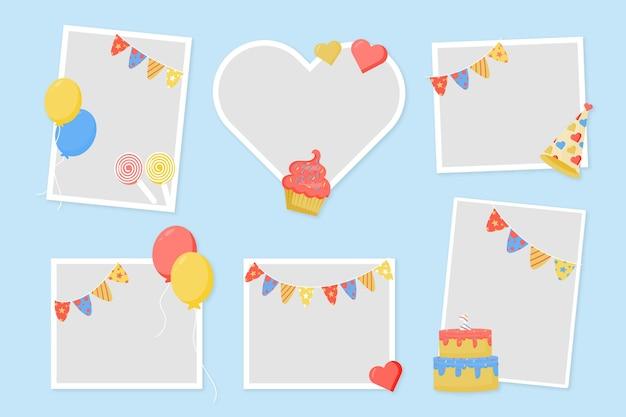 Espacio de copia de marco de collage de cumpleaños de diseño plano