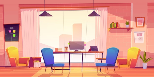 Espacio de coworking de dibujos animados ilustrado