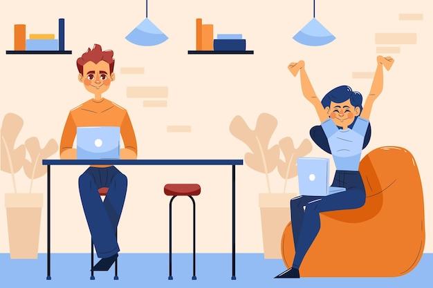 Espacio de coworking de doble equipo dibujado a mano plana