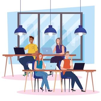 Espacio de coworking, jóvenes con computadoras en escritorios, ilustración del concepto de trabajo en equipo