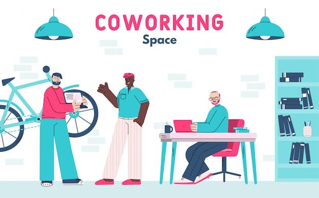 Espacio de coworking con personajes de dibujos animados independientes que trabajan en el espacio creativo, ilustración vectorial plana aislada concepto de freelance y coworking.