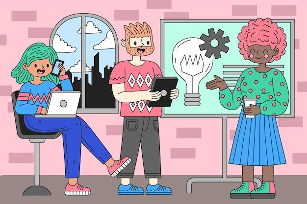Espacio de coworking de personas de dibujos animados