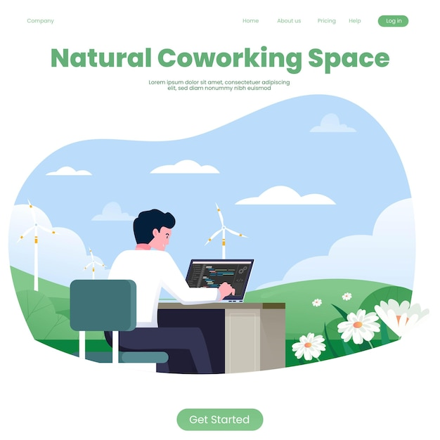 Espacio de coworking con plantilla natural