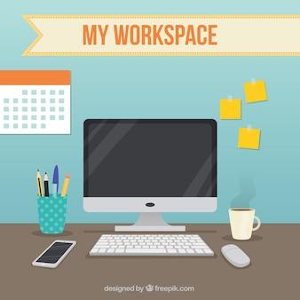 Espacio de trabajo con elementos de oficina