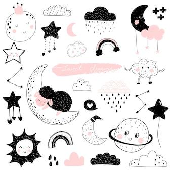 Espacio de dibujos animados lindo luna sol y nube personaje para niños.