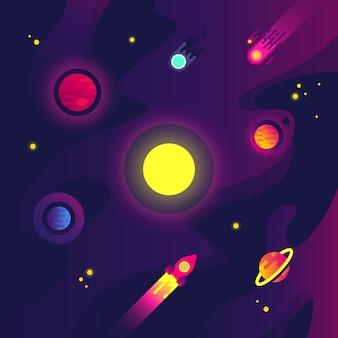 Espacio de dibujos animados con naves espaciales, pequeños planetas, meteoritos y estrellas en el cielo nocturno.