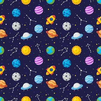 Espacio de dibujos animados de patrones sin fisuras con planetas