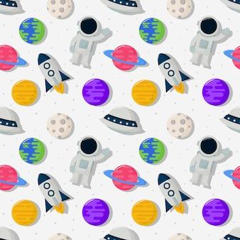 Espacio de dibujos animados de patrones sin fisuras