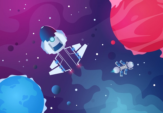 Espacio de dibujos animados. planetas alienígenas nave espacial asteroide planeta tierra estrellas cohete. telón de fondo del futuro cosmos