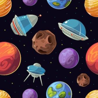 Espacio de dibujos animados con planetas, naves espaciales, ufo vector de fondo sin fisuras. galaxia de exploración en comput