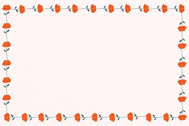 Espacio de diseño de marco de flor rosa roja