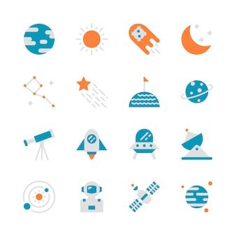 Espacio en diseño plano conjunto de iconos
