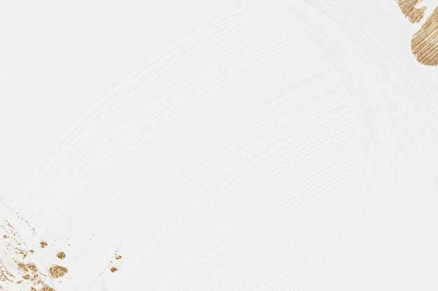 Espacio de diseño de vector con textura de pintura de pincel blanco con brillo dorado
