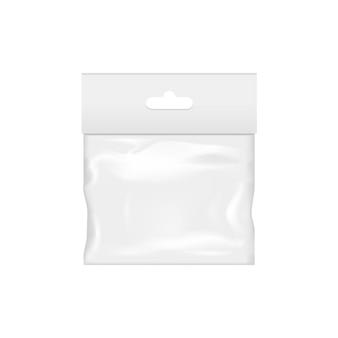 Espacio en blanco del bolsillo de plástico transparente.