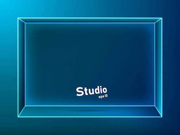 Espacio de estudio vacío azul oscuro iluminado con neón para mostrar