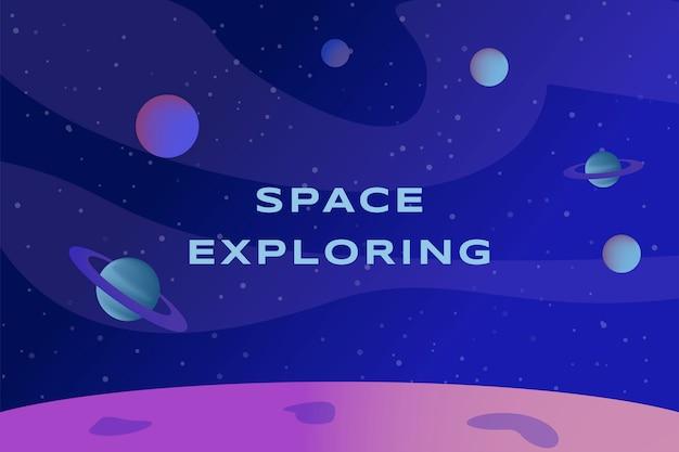 Espacio explorando diseño de banner. paisaje del planeta, superficie del planeta con cráteres.