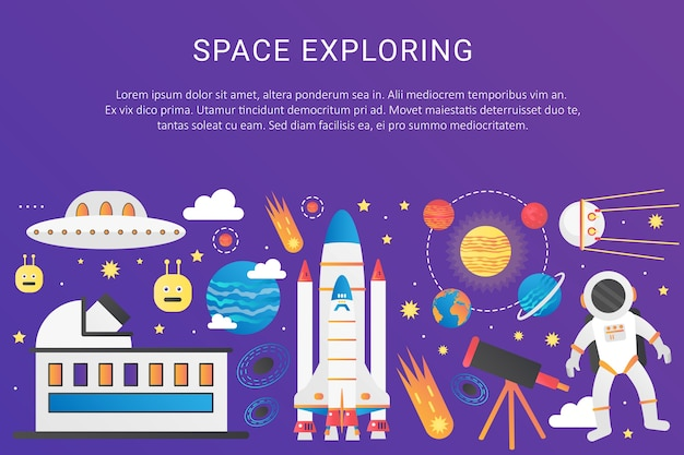 Espacio exterior universo infografía cohete nave espacial, sistema solar con planetas, satélites