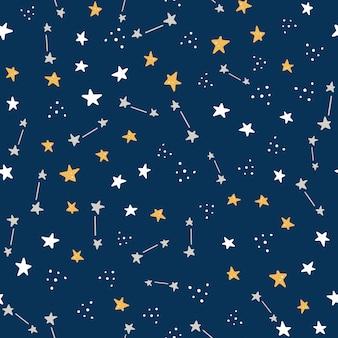 Espacio y galaxia dibujados a mano de patrones sin fisuras con elemento estrella.