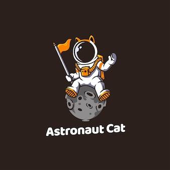 Espacio, gato, astronauta, animal, gracioso, lindo, gatito, caricatura, ilustración, vector, universo, cosmos,