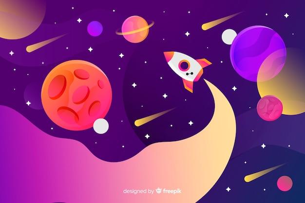 Espacio gradiente con un cohete