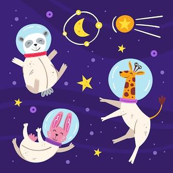 Espacio ilustración plana, conjunto de elementos, pegatinas, iconos. aislado en el fondo. jirafa, conejo, oso panda en traje espacial, estrella, luna, cometa. galaxia, ciencia. futurista.