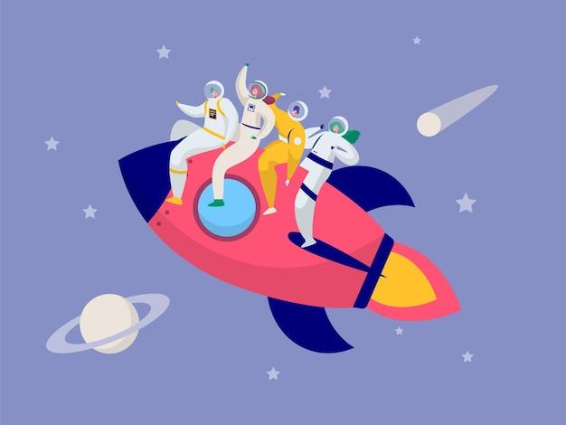Espacio intergaláctico de cohetes de viaje en equipo de astronautas.