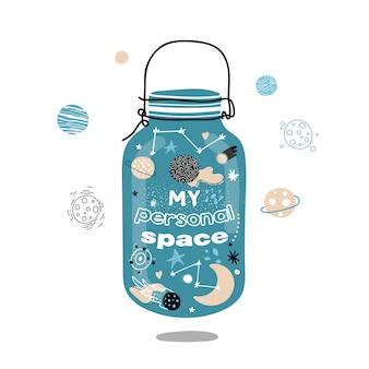 Espacio en una jarra de vidrio. mi espacio personal.