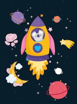 Espacio koala en cohete luna estrella y planetas aventura explorar ilustración de dibujos animados de animales