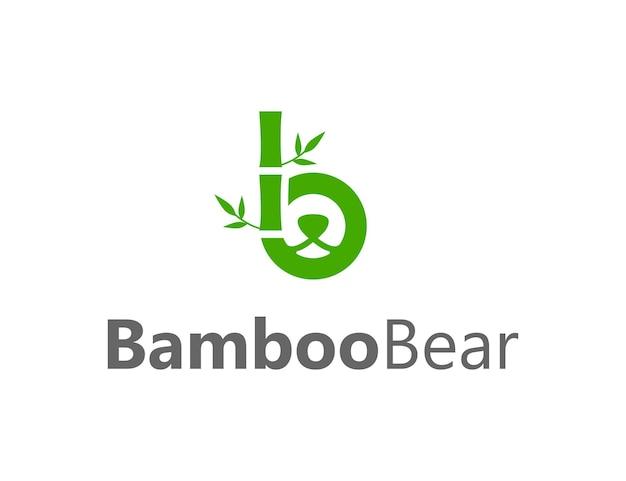 Espacio negativo cara cabeza oso con árbol de bambú y letra b diseño de logotipo moderno, creativo y elegante