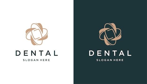 Espacio negativo dental con hoja, diseño de logotipo de flor.