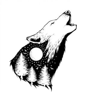 Espacio negativo de un lobo con fondo de bosque.