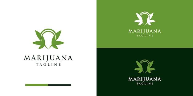 Espacio negativo marijuanacannabis con concepto de diseño de logotipo pin