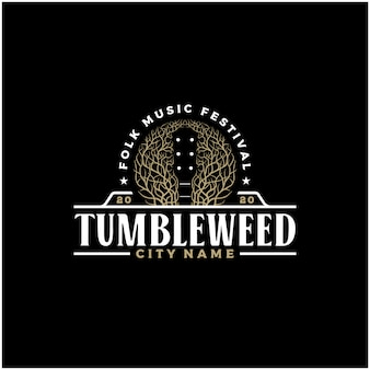 Espacio negativo tumbleweed guitarra música country western vintage retro saloon bar cowboy logo design