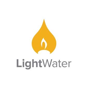 Espacio negativo vela fuego con gota de agua simple elegante creativo geométrico diseño de logotipo moderno