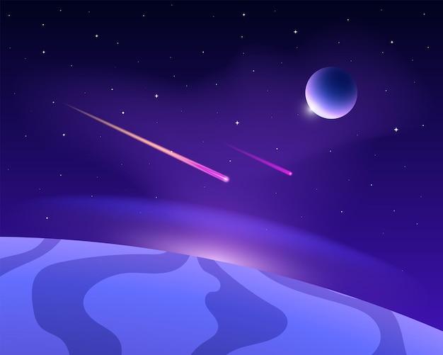 Espacio con planetas y cometas. cielo estrellado con resplandor.