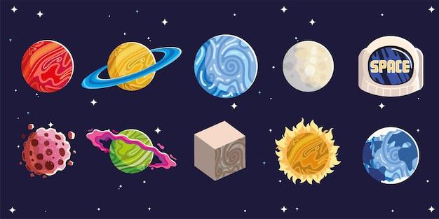 Espacio planetas sol luna casco asteroide astronomía galaxia iconos ilustración