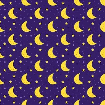 Espacio plano de patrones sin fisuras. luna con estrellas.