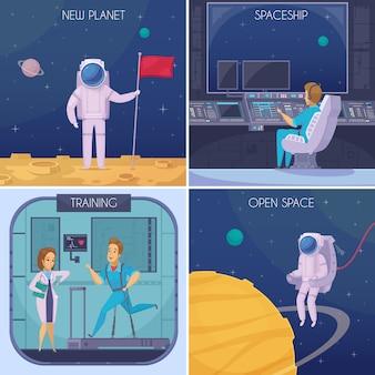 Espacio que falta 4 iconos de dibujos animados concepto con pruebas de entrenamiento médico y astronauta en espacio abierto aislado