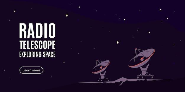 Espacio con radiotelescopio. banner de investigación espacial, explorando el espacio exterior.