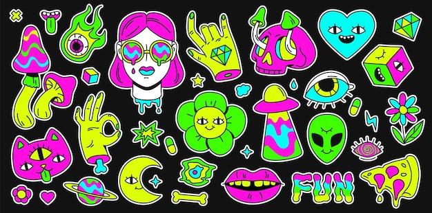 Espacio retro psicodélico, arco iris y pegatina de elementos surrealistas. personaje de dibujos animados abstracto emoji, niña y gato. conjunto de vectores de holutinación. ilustración de arte surrealista brillante, etiqueta engomada del surrealismo emoji