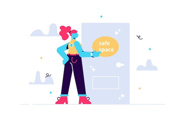 Espacio seguro, personaje femenino joven llamando a la puerta, concepto de apoyo de salud mental.