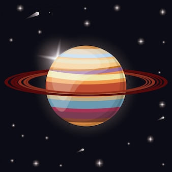 Espacio del sistema solar del planeta saturno