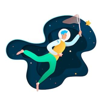 Espacio soñando ilustración. ilustración futurista con jóvenes cosmonautas atrapar estrellas en el espacio.