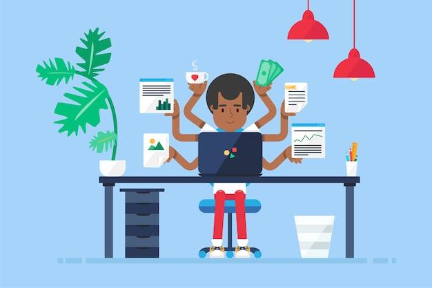 Espacio de trabajo del administrador afroamericano de trabajo profesional con escritorio, silla, cuaderno