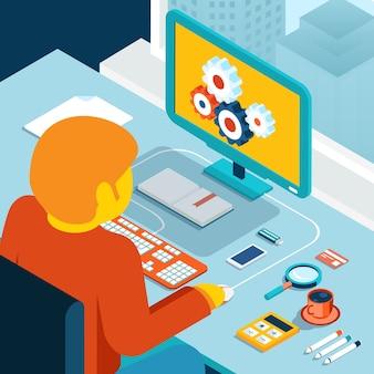 Espacio de trabajo en casa. estación de trabajo junto a la ventana. ilustración 3d isométrica. escritorio y autónomo o programador, hombre y café, creatividad de procesos