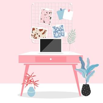 Espacio de trabajo en casa. habitación rosa interior. trabajando desde casa durante el aislamiento. portátil sobre la mesa. escritorio de trabajo rosa, tarjeta de memoria en la pared y plantas. vida moderna y diseño interior moderno.