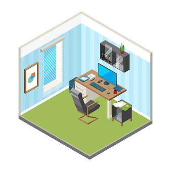 Espacio de trabajo en casa isométrica. er freelance oficina lugar de trabajo arte producción estudio computadora monitor ilustraciones vectoriales