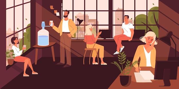 Espacio de trabajo conjunto. la gente de negocios trabaja en equipo. trabajadores sentados en el escritorio. idea de comunicación y colaboración. ilustración