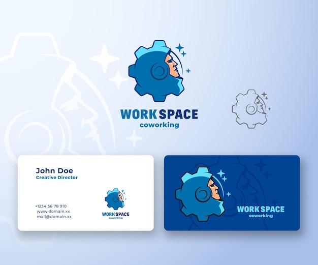 Espacio de trabajo de coworking. logotipo abstracto y tarjeta de visita